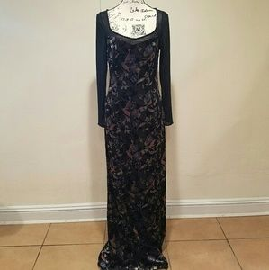 NWOT Bob Mackie Boutique beaded floral black gown